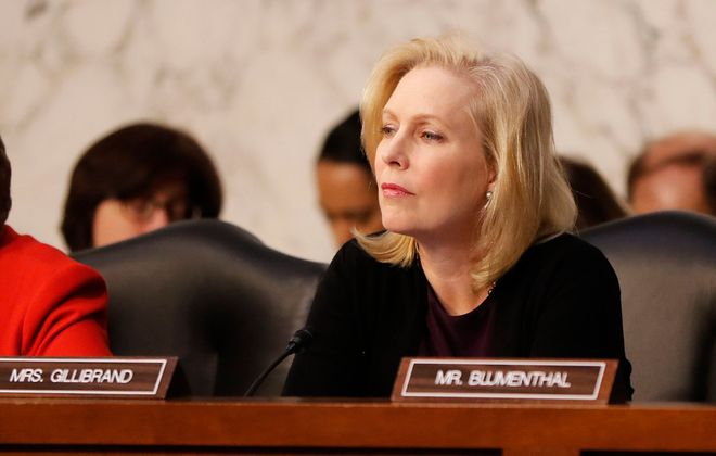Sen. Kirsten Gillibrand during the Senate Armed Services Committee hearing in Washington, D.C., on Wednesday, March 3, 2020. (Mark Mulville/Buffalo News)