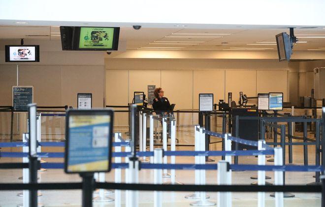 The TSA check-in lines at the Buffalo Niagara International Airport were almost empty due to the Covid-19 outbreak on Thursday, March 19, 2020. (James P. McCoy/Buffalo News)