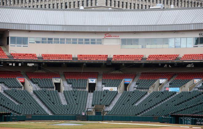 Sahlen Field has sat quiet with the start of the minor league season on hold (Harry Scull Jr./Buffalo News).