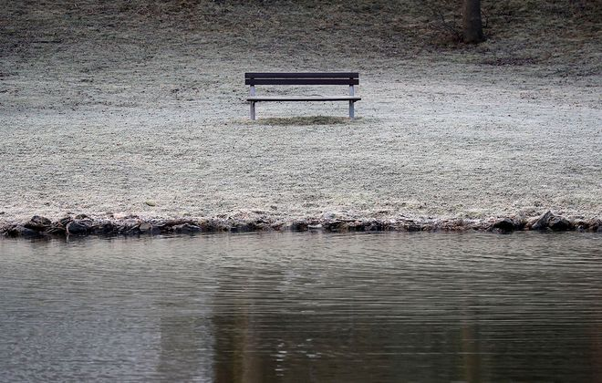 A bench and the surrounding grass are covered in frost at Green Lake in Orchard Park on Wednesday, March 11, 2020. (Mark Mulville/Buffalo News)