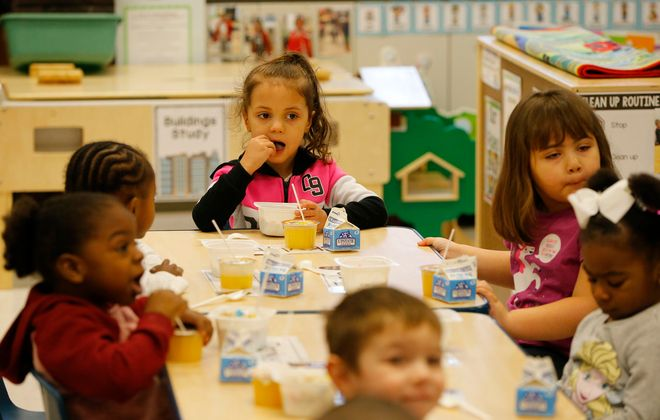 Pre-K students enjoy some breakfast at the Henry F. Abate Elementary School in Niagara Falls on March 12, 2020. The Niagara Falls School District is hoping to expand its pre-K by winning a federal contract to run the Head Start program in Niagara County. The Community Action Organization of Western New York, an anti-poverty nonprofit in Buffalo, currently has the $4 million contract that expires this year. (Mark Mulville/Buffalo News)