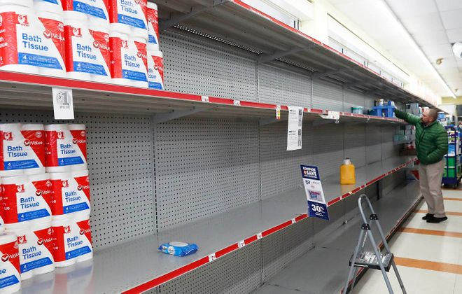 The toilet paper shelf at Family Dollar on Kenmore Avenue in Buffalo on March 13. (Sharon Cantillon/Buffalo News)