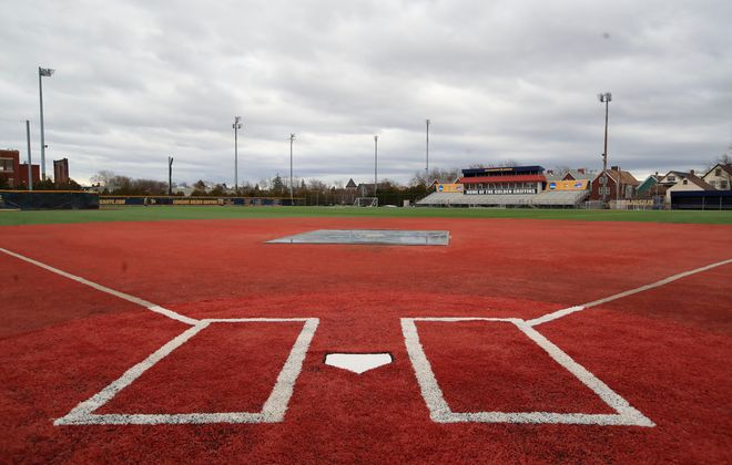 An empty softball field at the Demske Sports Complex on the Canisius College campus, on Friday, March 13, 2020. (Harry Scull Jr./Buffalo News)