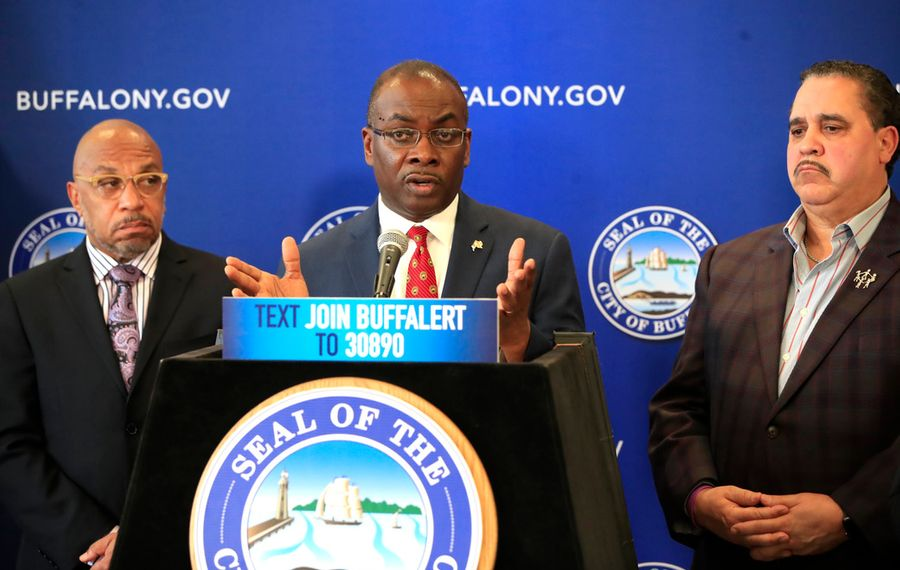 Mayor Byron Brown gives a COVID-19 update on Monday, March 16, 2020. (Harry Scull Jr./Buffalo News)