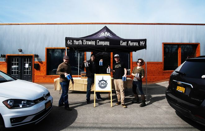 42 North Brewing Co. has instituted its own drive-through while promoting three other East Aurora businesses. (via 42 North)