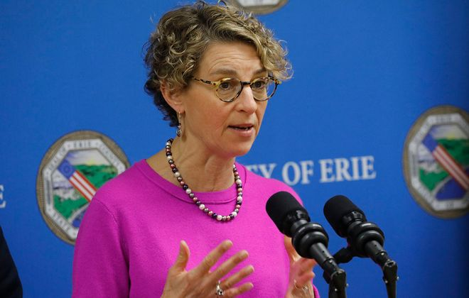 Erie County Health Commissioner Dr. Gale Burstein speaks during a press conference to update the public on COVID-19 on Monday, March 16, 2020. (Derek Gee/Buffalo News)