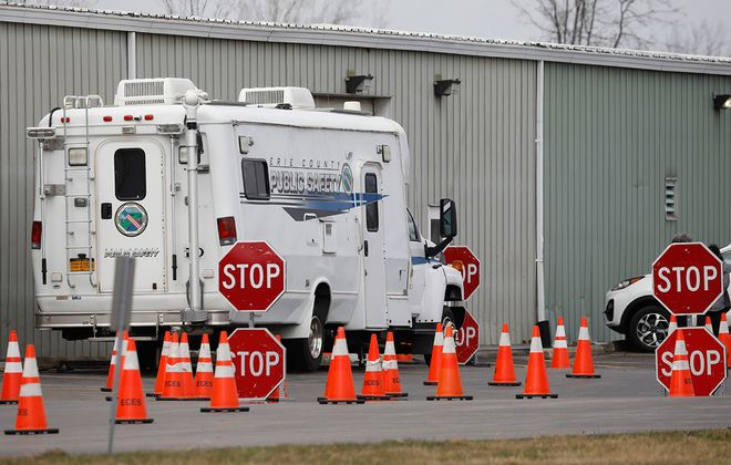 An Erie County Public Safety command center is parked outside the Town of Amherst Parks Maintenance Garage on Maple Road, Wednesday, March 25, 2020. (Derek Gee/Buffalo News)