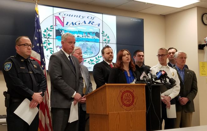 Niagara County Legislature Chairwoman Rebecca J. Wydysh, center, announces state of emergency in the county and the closure of all its schools in response to the COVID-19 outbreak March 15, 2020. (Thomas J. Prohaska/The Buffalo News)