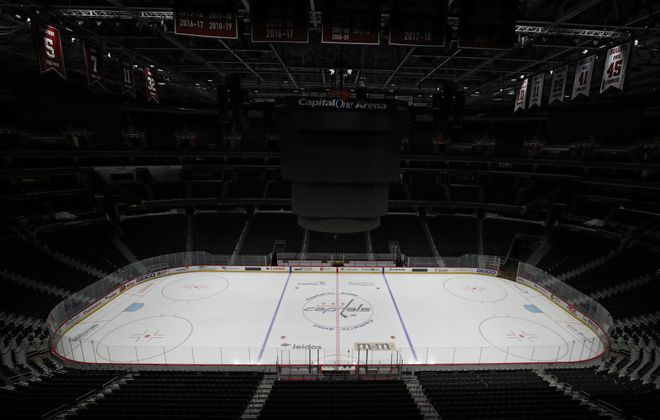 Capital One Arena in Washington sits idle Thursday after the Capitals game against Detroit was postponed (Getty Images).
