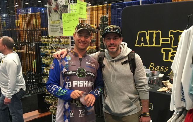 Charles Waldorf of North Tonawanda (right) won a trip to the 50th Anniversary of the 2020 Academy Sports + Outdoors Bassmaster Classic presented by Huk March 6-8 at Lake Guntersville in Alabama by attending the Greater Niagara Fishing Expo in January. He is picture here with professional bass fisherman Austin Felix of Minnesota. (Photo courtesy Charles Waldorf)