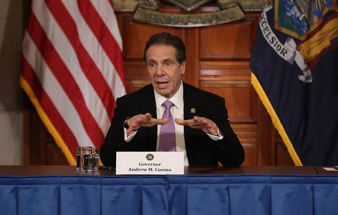 New York Gov. Andrew M. Cuomo speaks during a news conference amid the coronavirus outbreak. (Getty Images file photo)