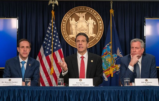 Gov. Andrew Cuomo, center, New York City Mayor Bill DeBlasio, right,  and state Department of Health Commissioner Howard Zucker hold a news conference on COVID-19 earlier this month. Cuomo, Erie County Executive Mark C. Poloncarz and county Health Commissioner Dr. Gale Burstein have demonstrated solid leadership as the pandemic made its way into New York and Erie County. (Getty Images)