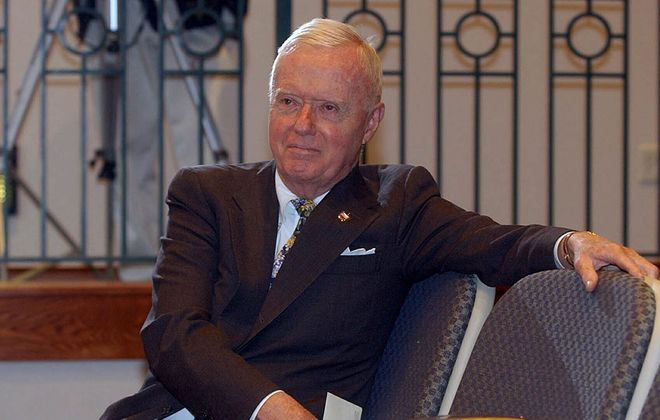 Congressman Amo Houghton sits and waits to speak about his retirement plans at Jamestown Community College's Cutco Theater in Olean on April 6, 2004.(Harry Scull Jr./News file photo)