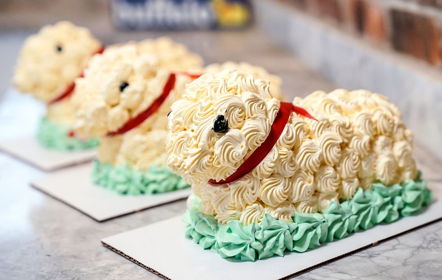 Lake Effect Ice Cream's butter lamb flavored ice cream is shaped in large lamb figure molds imported from Germany. (Dave Jarosz)
