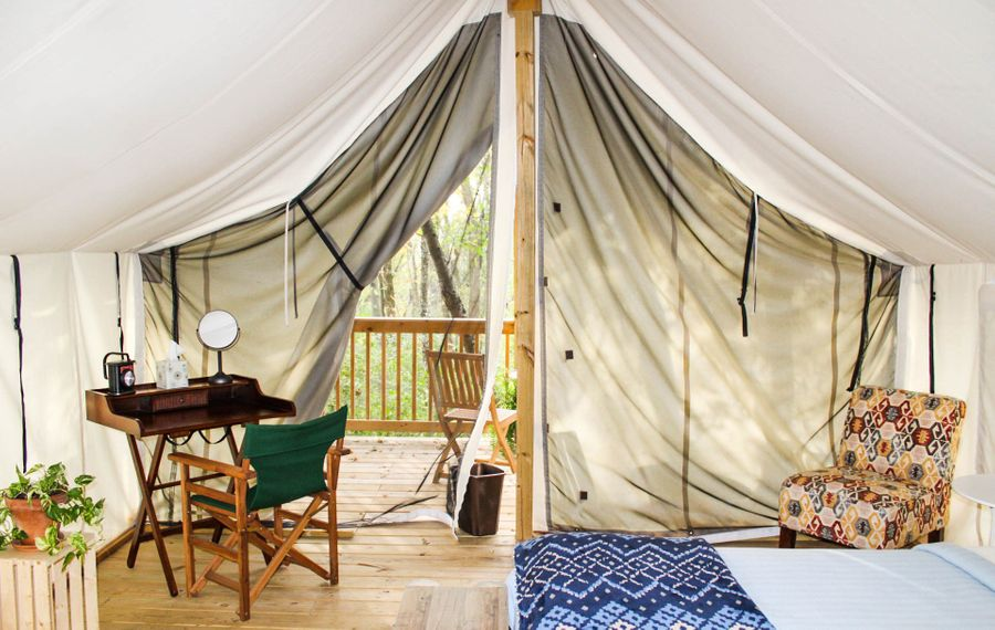 Seneca Sol in the Finger Lakes features both tents and tipis, all without power. (Seneca Sol Glamping)