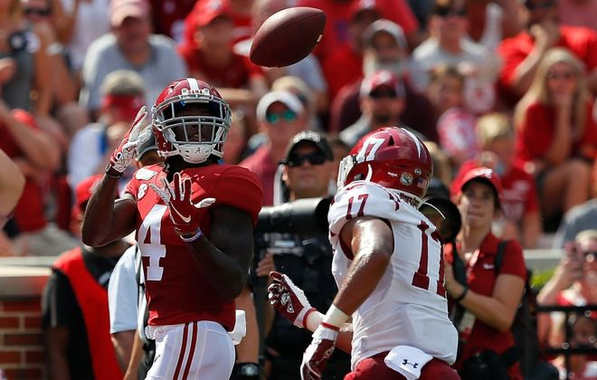 Jerry Jeudy of the Alabama Crimson Tide is one of 10 wideouts in the top 40 of the Top 100 of the 2020 NFL Draft. (Kevin C. Cox/Getty Images file photo)