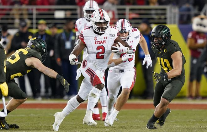 Utah running back Zack Moss could be an option for the Bills in the draft (Thearon W. Henderson/Getty Images)