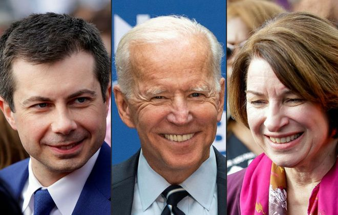 The presidential hopes of Joe Biden, center, received a major boost after Amy Klobuchar and Pete Buttigieg dropped out of the Democratic race after many voters had cast early ballots. (Getty Images file photo)