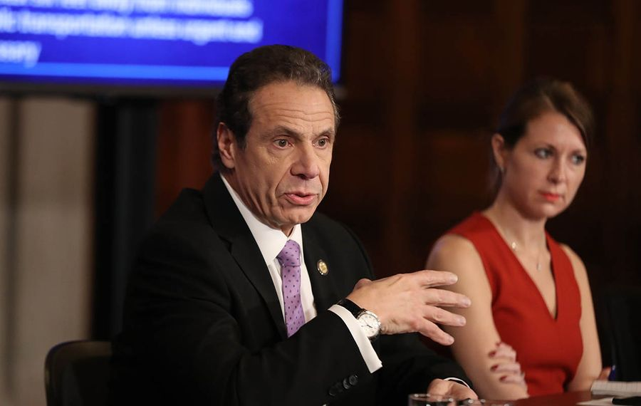 Gov. Andrew M. Cuomo addresses the media during a recent coronavirus update. (Getty Images)