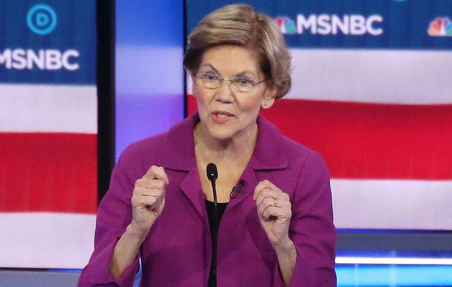 Democratic presidential candidate Sen. Elizabeth Warren speaks during the Democratic presidential primary debate at Paris Las Vegas on Feb. 19, 2020, in Las Vegas. (Mario Tama/Getty Images/TNS)