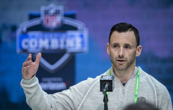 Washington Redskins Vice President of Player Personnel Kyle Smith speaks at the NFL scouting combine. (Getty Images)