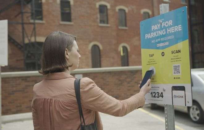 AllPro Parking has been testing HonkTAP as a contactless payment system for parking in Buffalo. (Courtesy of AllPro Parking LLC)