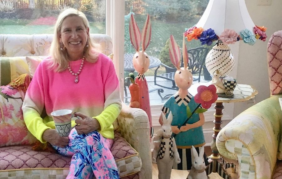 Susan Grelick, legislative director and counsel to the New York State Senate and the former Amherst town supervisor, recently posted this photo of herself on Facebook. Known for her collection of clothing and accessories, she said she is choosing brightly colored, comfortable clothing while working remotely from home. (Photo courtesy Susan Grelick)
