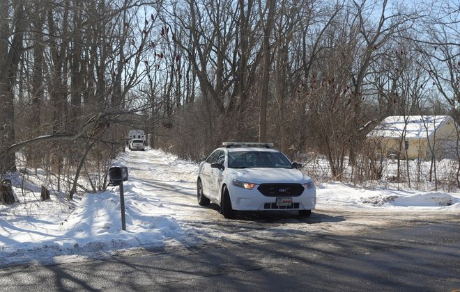 Lewiston Police and a crime scene investigation unit on the scene at 2100 Mount Hope Road on the Tuscarora Reservation March 1 at the time of home invasion and shooting.(John Hickey/Buffalo News)