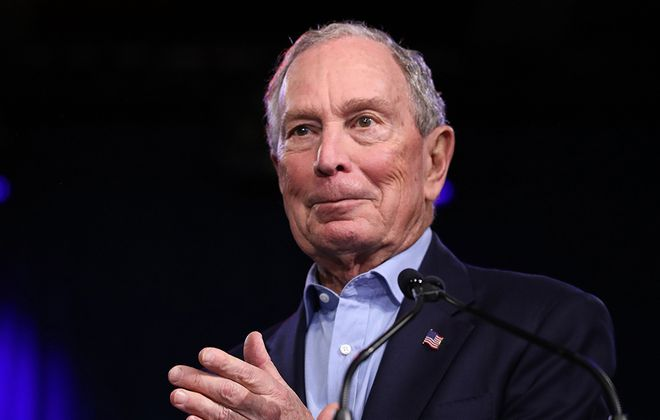 Former New York mayor Mike Bloomberg speaks during a rally at Palm Beach County Convention Center in West Palm Beach, Fla., on Super Tuesday, March 3, 2020. (Eva Marie/AFP via Getty Images)
