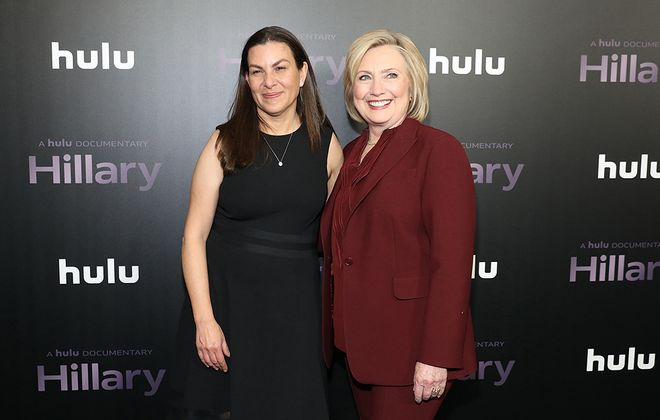"""Director Nanette Burstein and Hillary Rodham Clinton attend Hulu's """"Hillary"""" premiere on Wednesday in New York City. (Monica Schipper/Getty Images for Hulu)"""