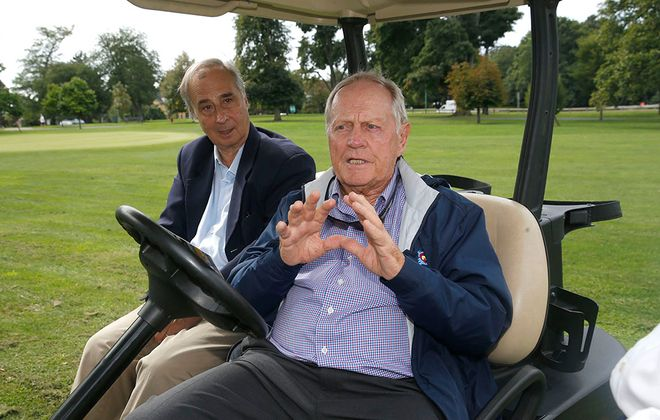Golf legend Jack Nicklaus, right, sitting with Olmsted Parks scholar Francis R. Kowsky at Delaware Park in 2018. (Robert Kirkham/News file photo)
