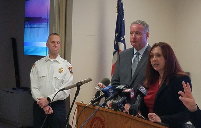 From left, Niagara County Emergency Management Director Jonathan F. Schultz, Public Health Director Daniel J. Stapleton and County Legislature Chairwoman Rebecca J. Wydysh at a news conference March 18, 2020. (Thomas J. Prohaskas/Buffalo News)