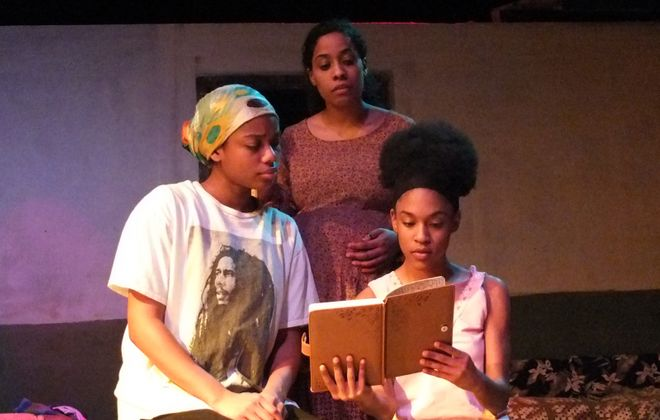 """Janaé Leonard, Robyn Fonn and Nina Brown star in """"Eclipsed,"""" being presented by Subversive Theatre. (Photo courtesy of Lawrence Rowswell)"""