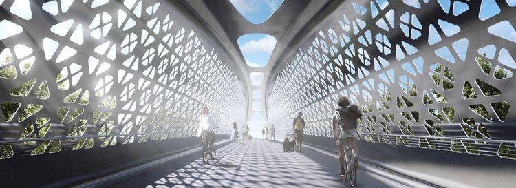 A rendering of the bridge over the Niagara Thruway to Ralph C. Wilson Jr. Centennial Park.
