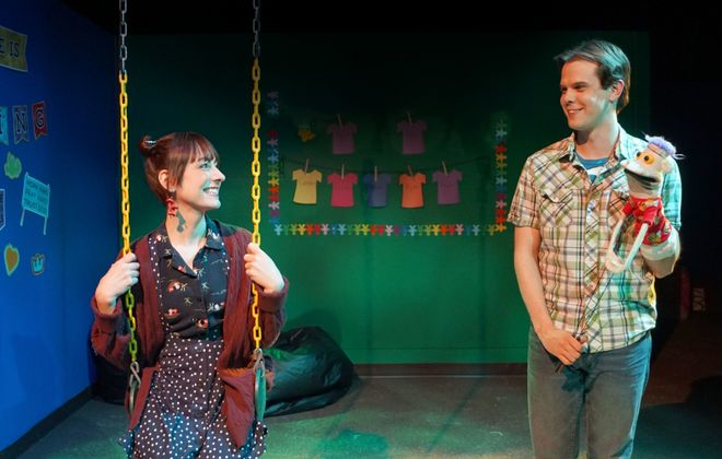 "It's high marks all around for the cast of ""Hand to God,"" now on stage at Road Less Traveled. Reviewer Ben Siegel calls Maura Coseglia ""a breath of fresh air"" and Dan Urtz ""a star."" (Photo by Gina Gandolf)"
