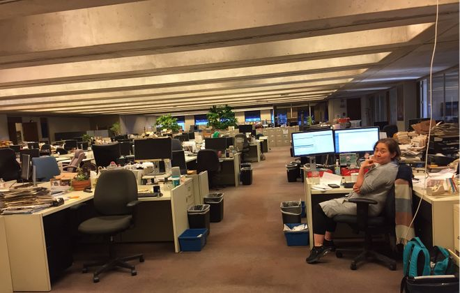 Maki Becker is the lone reporter/cityside editor in the newsroom Saturday evening as other reporters work from home.
