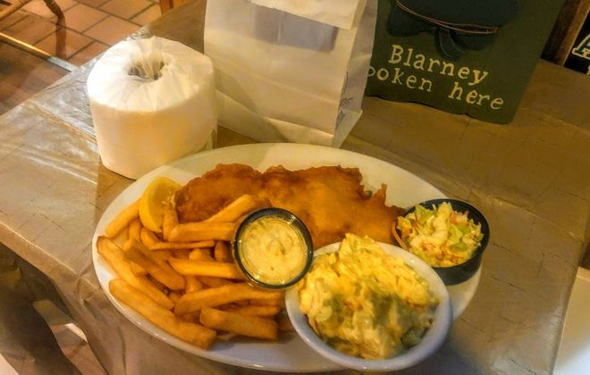 Friday's fish fry from Danny's, near the airport, comes with a roll of toilet paper. (Photo courtesy of Danny's)