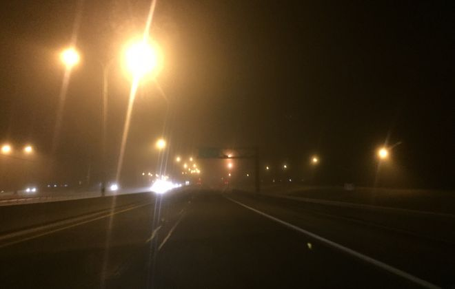 It was a dark and foggy drive into Buffalo for those on Route 5 Wednesday morning. (Keith McShea/Buffalo News)