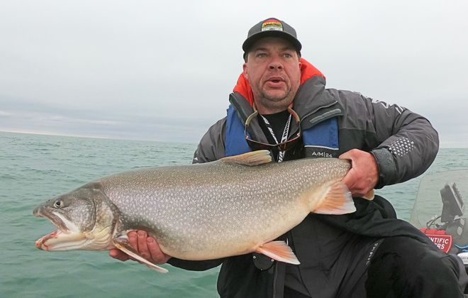 Jeff Pierce of Scientific Anglers shows off a Niagara Bar lake trout he caught last December. Lake trout season is now open as of Dec. 1 instead of Jan. 1. (Photo courtesy of Jeff Pierce)