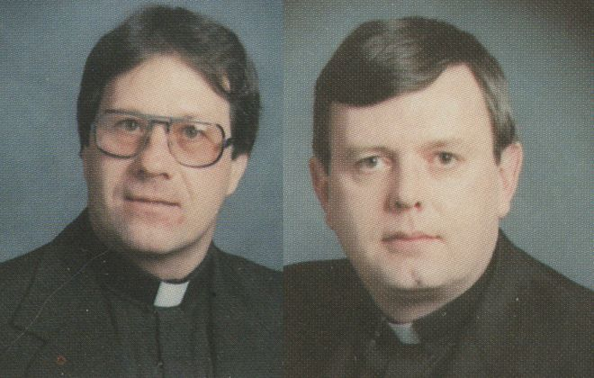 The Rev. Norbert Orsolits, left, and the Rev. William F.J. White. (Buffalo Diocese's 1983 Priests' Pictorial Directory)