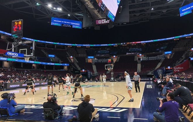 The MAC Tournament continued Wednesday in Cleveland in front of near-empty stands. (Rachel Lenzi/The Buffalo News)