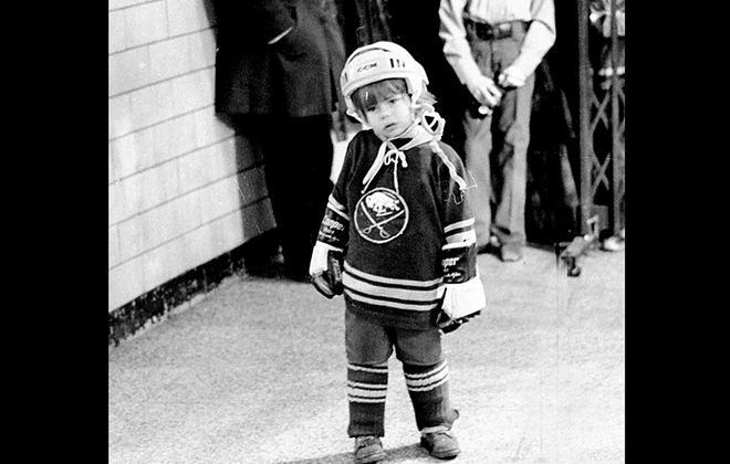 Do you know who this little Sabres fan is? Dave Schofield took this picture five decades ago in the moments before the child would have a chance encounter with Sabres captain Gerry Meehan. (Photo courtesy of Dave Schofield)