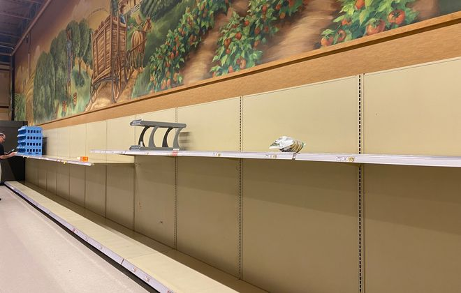 The paper products aisle was completely cleared out Thursday evening at the Amherst Street Wegmans. (Margaret Giancola/Buffalo News)