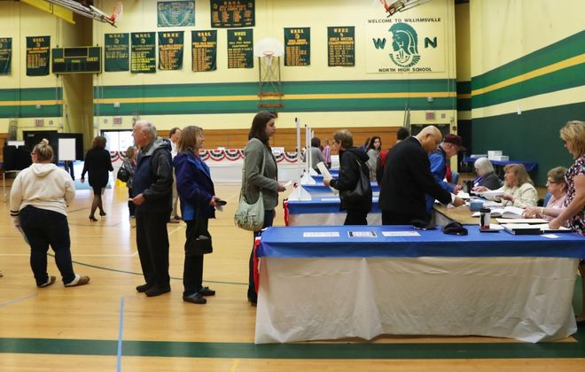 Will school budget votes – like this one in Williamsville in 2018 – take place as scheduled in May? That is just one question superintendents are pondering as they try to prepare budgets amid the uncertainty caused by the novel coronavirus pandemic. (Sharon Cantillon/News file photo)