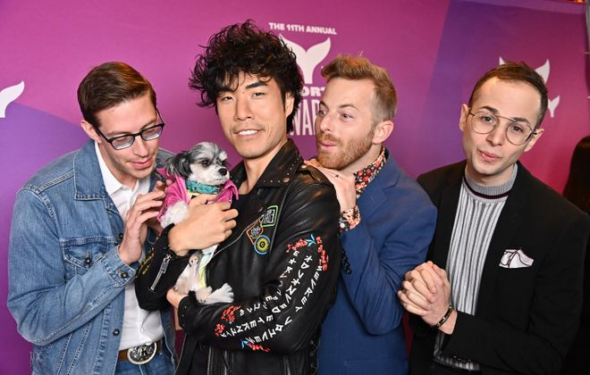 The Try Guys (Keith Habersberger, Tinkerbelle the Dog, Eugene Lee Yang, Ned Fulmer and Zach Kornfeld) live up to their name by trying just about anything on their YouTube channel. (Getty Images)