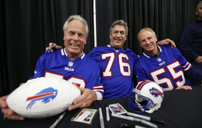 The so-called Buffalo Bills Burmuda Triangle visited the Buffalo Auto Show in 2016: from left, Shane Nelson, Fred Smerlas and Jim Haslett. (Robert Kirkham/News file photo)