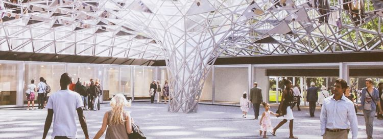 A rendering of the innovative roof to cover the courtyard by artist Olafur Eliasson. (Rendering courtesy of Albright-Knox Art Gallery)