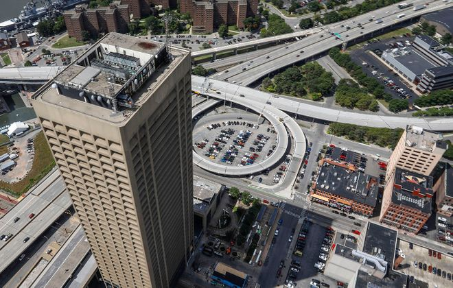 An aerial view of Seneca One tower and downtown Buffalo. (Derek Gee/News file photo)