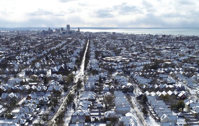 The west side of Buffalo is nestled in a coat of white after the first major snowfall of the 2019-2020 season. (Derek Gee/News file photo)