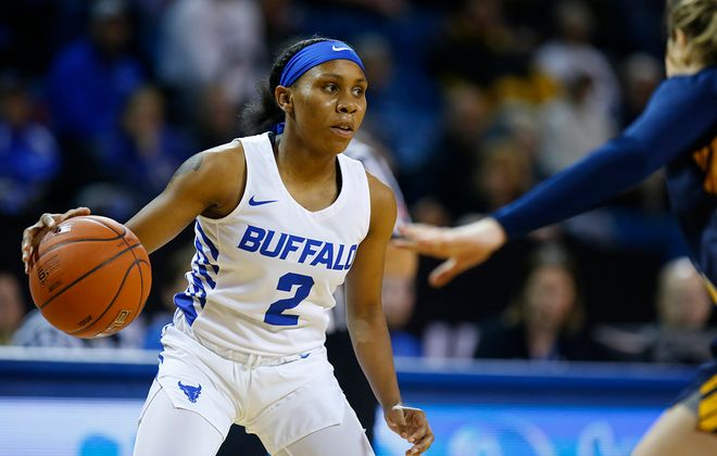 University at Buffalo's Dyaisha Fair looks to pass against Canisius during the first half at Alumni Arena on Tuesday, Nov. 12, 2019. (Harry Scull Jr./Buffalo News)
